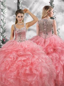 Pretty Watermelon Red Sleeveless Beading and Ruffles Floor Length Quinceanera Gowns