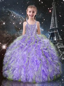 Elegant Lilac Ball Gowns Straps Sleeveless Organza Floor Length Lace Up Beading and Ruffles Child Pageant Dress