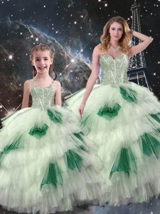 Enchanting Floor Length Multi-color Ball Gown Prom Dress Organza Sleeveless Beading and Ruffled Layers