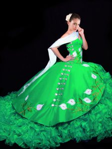 Gorgeous Green Quinceanera Gown Military Ball and Sweet 16 and Quinceanera with Embroidery and Ruffles Sweetheart Sleeveless Brush Train Lace Up