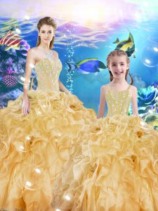 Enchanting Beading and Ruffles Sweet 16 Dress Gold Lace Up Sleeveless Floor Length