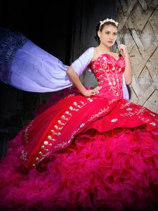 Sweetheart Sleeveless Quinceanera Gown Brush Train Embroidery and Ruffles Hot Pink Organza