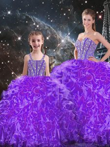 Attractive Floor Length Eggplant Purple Quinceanera Gown Sweetheart Sleeveless Lace Up