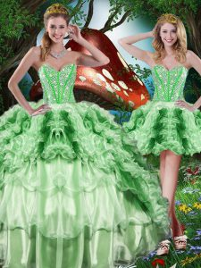 Comfortable Organza Sleeveless Floor Length Sweet 16 Quinceanera Dress and Beading and Ruffles and Ruffled Layers