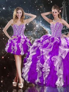Fabulous Sweetheart Sleeveless Sweet 16 Quinceanera Dress Floor Length Beading and Ruffles Multi-color Organza