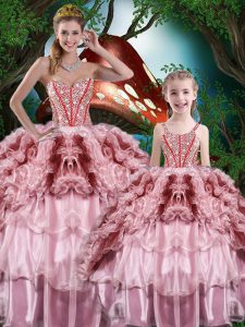 Multi-color Ball Gowns Beading and Ruffles and Ruffled Layers 15 Quinceanera Dress Lace Up Organza Sleeveless Floor Length