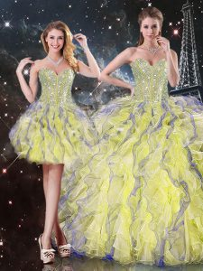 High Quality Sweetheart Sleeveless Organza Quinceanera Gown Beading and Ruffles Lace Up