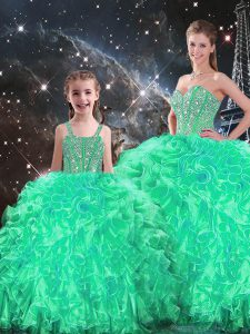 Turquoise Sweetheart Lace Up Beading and Ruffles 15th Birthday Dress Sleeveless