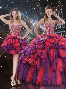 Modern Multi-color Sweetheart Lace Up Beading and Ruffles and Ruffled Layers Sweet 16 Quinceanera Dress Sleeveless