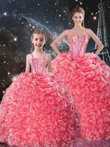 Ball Gowns Ball Gown Prom Dress Coral Red Sweetheart Organza Sleeveless Floor Length Lace Up