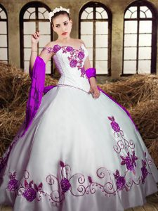 White Ball Gowns Sweetheart Sleeveless Taffeta Floor Length Lace Up Embroidery 15th Birthday Dress