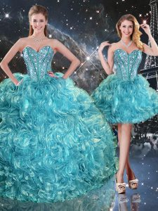 Flirting Aqua Blue Three Pieces Sweetheart Sleeveless Organza Floor Length Lace Up Beading and Ruffles Sweet 16 Dresses