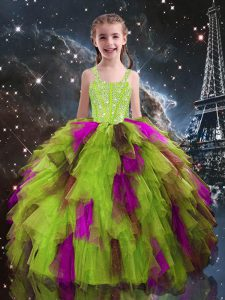 Fancy Yellow Green Sleeveless Tulle Lace Up Little Girls Pageant Gowns for Quinceanera and Wedding Party