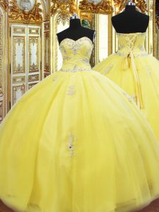 Sweetheart Sleeveless Lace Up Quinceanera Gown Gold Tulle