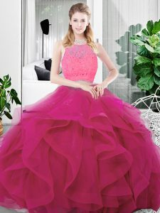 Custom Made Tulle Sleeveless Floor Length Quinceanera Gown and Lace and Ruffles