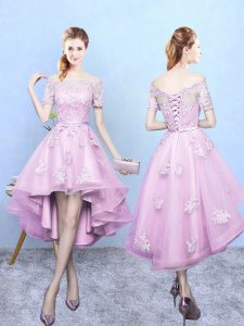 Short Sleeves Lace Lace Up Bridesmaid Dresses