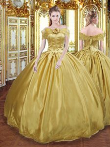 Flare Gold Ball Gowns Beading and Appliques and Hand Made Flower Quince Ball Gowns Lace Up Tulle Sleeveless Floor Length