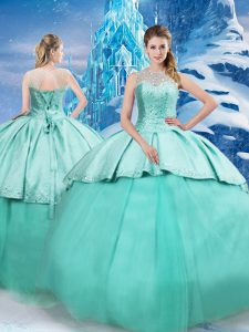 Enchanting Turquoise Tulle Lace Up Quinceanera Gown Sleeveless Brush Train Beading and Ruching
