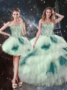 Designer Tulle Sleeveless Floor Length Sweet 16 Dress and Beading and Ruffled Layers and Sequins