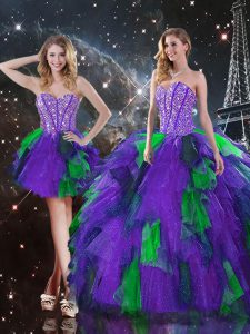 Custom Design Sleeveless Tulle Floor Length Lace Up Ball Gown Prom Dress in Multi-color with Beading and Ruffles