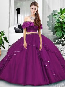 Luxurious Floor Length Lace Up 15 Quinceanera Dress Eggplant Purple for Military Ball and Sweet 16 and Quinceanera with Lace and Ruffles