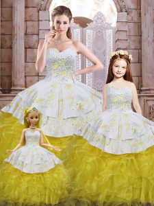 Colorful Yellow And White Ball Gowns Beading and Appliques and Ruffles Quince Ball Gowns Lace Up Organza Sleeveless Floor Length