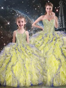 Luxury Yellow Ball Gowns Sweetheart Sleeveless Organza Floor Length Lace Up Beading and Ruffles 15 Quinceanera Dress