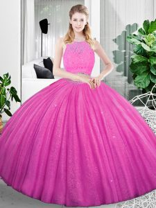 Scoop Sleeveless 15th Birthday Dress Floor Length Lace and Ruching Fuchsia Organza