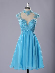 Chiffon High-neck Sleeveless Zipper Lace and Appliques Junior Homecoming Dress in Baby Blue