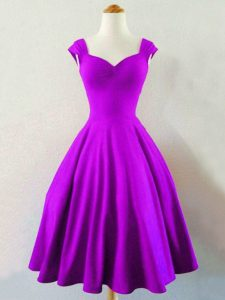 Fantastic A-line Court Dresses for Sweet 16 Eggplant Purple Straps Taffeta Sleeveless Knee Length Lace Up