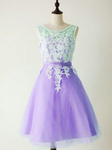 Lavender Quinceanera Court of Honor Dress Prom and Party and Wedding Party with Lace Scoop Sleeveless Lace Up