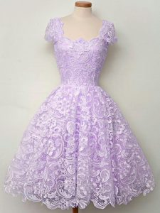 On Sale Lavender Straps Lace Up Lace Quinceanera Court of Honor Dress Cap Sleeves
