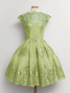 Cute Knee Length Lace Up Quinceanera Court Dresses Yellow Green for Prom and Party and Wedding Party with Lace