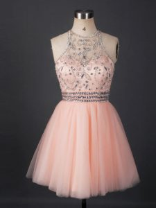 Peach Lace Up Scoop Beading Cocktail Dresses Tulle Sleeveless