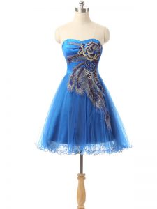 Charming Appliques Cocktail Dress Blue Side Zipper Sleeveless Mini Length