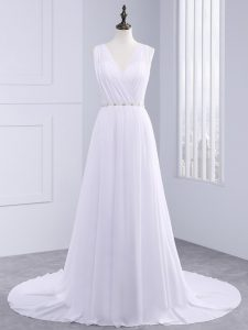 Sleeveless Beading and Ruching Backless Wedding Gown with White Brush Train