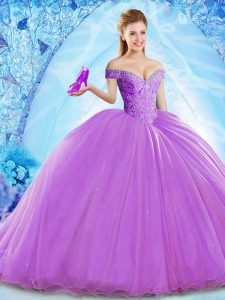 Customized Organza Off The Shoulder Sleeveless Brush Train Lace Up Beading Quinceanera Dresses in Lavender