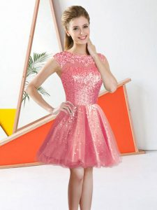 Watermelon Red A-line Organza Bateau Sleeveless Beading and Lace Knee Length Backless Dama Dress