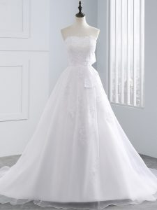 Luxury White Sleeveless Organza Lace Up Bridal Gown for Beach and Wedding Party