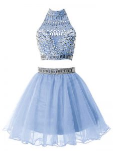 Fantastic Light Blue Sleeveless Knee Length Beading Zipper Damas Dress