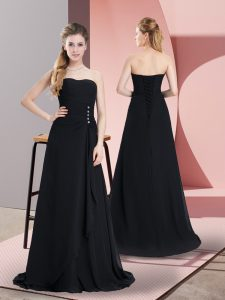 Flirting Sleeveless Floor Length Beading Lace Up Dress for Prom with Black