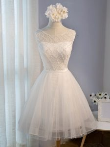 Scoop Sleeveless Tulle Beading Lace Up
