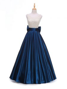 Captivating Sleeveless Beading and Bowknot Backless Evening Party Dresses