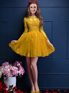 Chiffon 3 4 Length Sleeve Mini Length Damas Dress and Beading and Lace and Appliques
