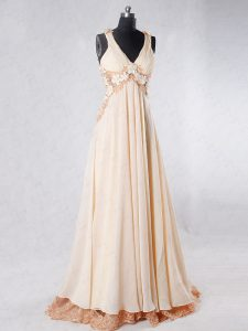 High Class A-line Sleeveless Champagne Prom Dresses Sweep Train Backless