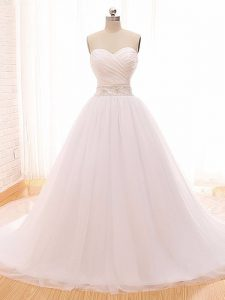 Cute Beading and Ruching Wedding Gowns White Clasp Handle Sleeveless