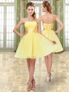 Yellow Prom and Party and Sweet 16 with Beading and Ruching Strapless Sleeveless Lace Up