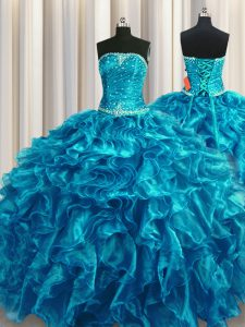 Teal Organza Lace Up Strapless Sleeveless Floor Length Quince Ball Gowns Beading and Ruffles
