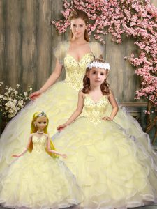 Best Selling Sleeveless Tulle Floor Length Lace Up Sweet 16 Dress in Light Yellow with Beading and Ruffles