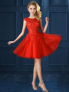 Knee Length Red Court Dresses for Sweet 16 Tulle Cap Sleeves Lace and Appliques